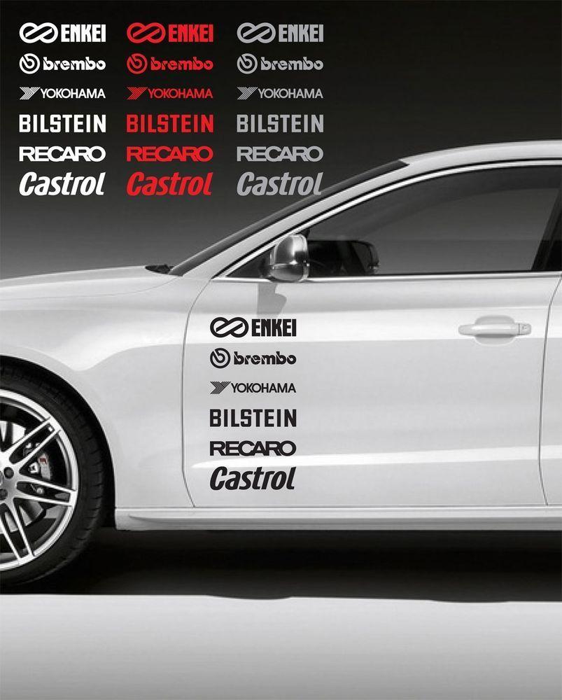 12pcs racing sponsors logo graphic decal mitsubishi evo scion frs honda subaru a oracal