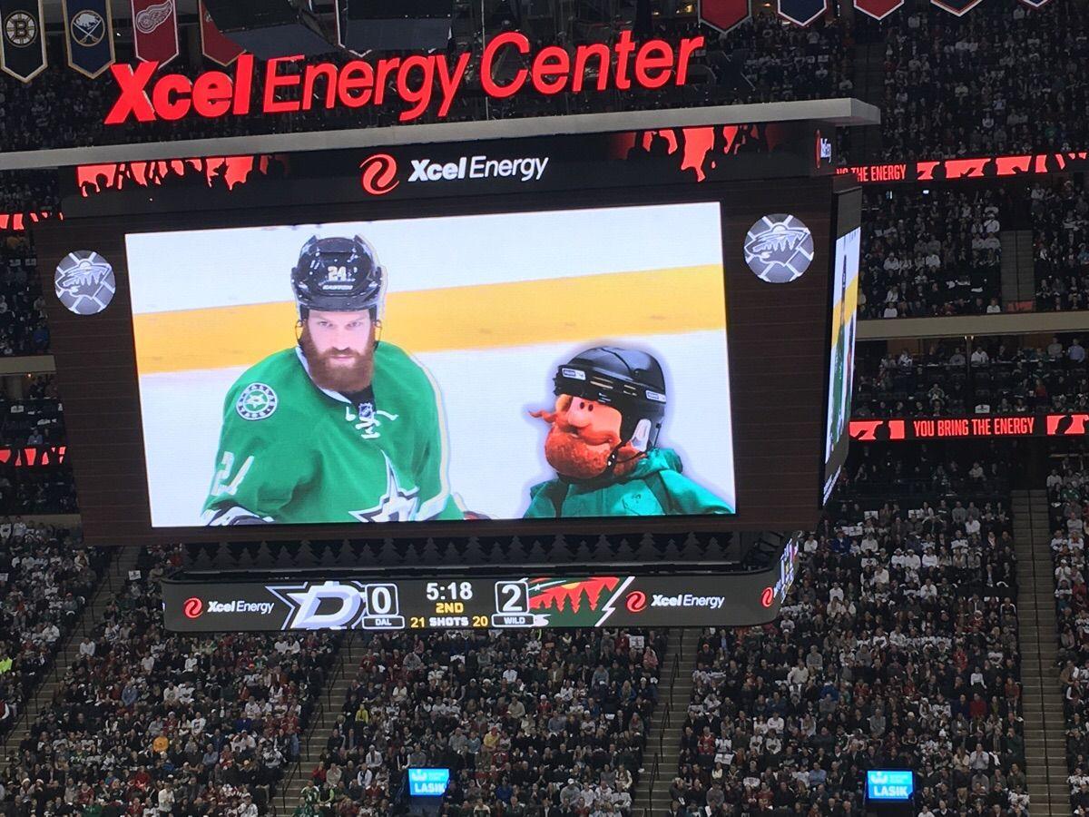 The Minnesota Wild Chirped Jordie Benn On The Scoreboard He Promptly Scored On The Next Shift Jordie Benn Minnesota Wild Xcel Energy