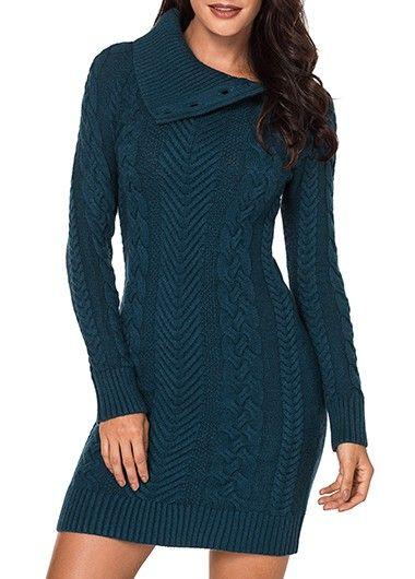 a1a60a016a Long Sleeve V Neck Ribbed Crossover Sweater Dress | Rotita.com - USD $31.86