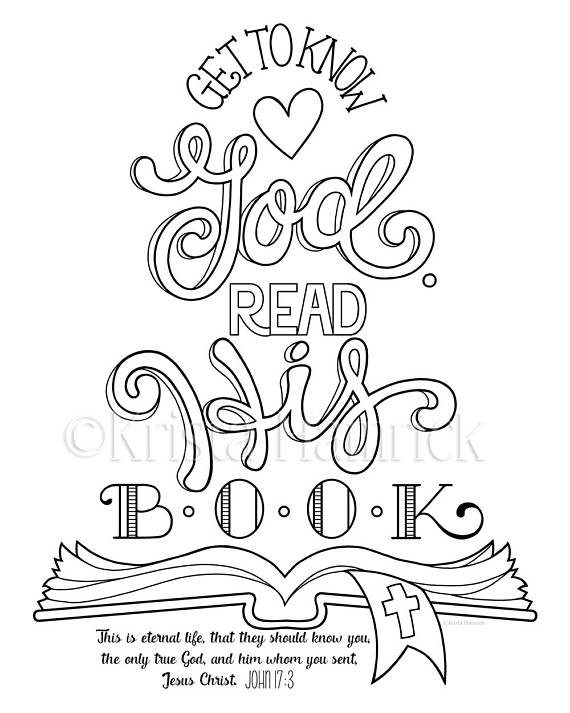 Get to Know God, Read His Book! coloring page / Two sizes