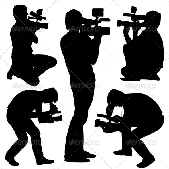 Cameramen Silhouettes With Video Camera