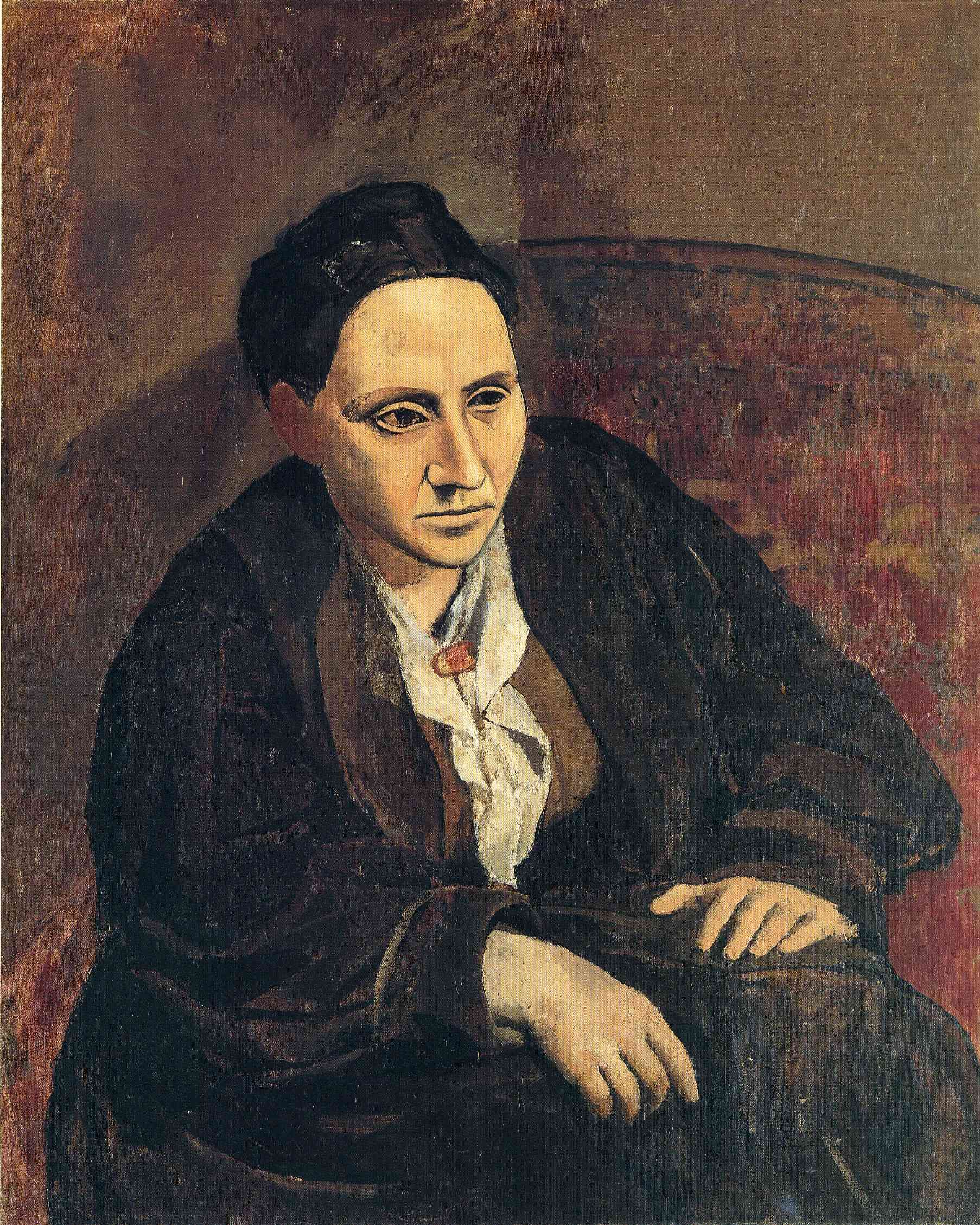 Portrait of Gertrude Stein  Portrait de Gertrude Stein  enlarge      Artist: Pablo Picasso  Completion Date: 1906  Style: Symbolism  Period: Rose Period  Genre: portrait