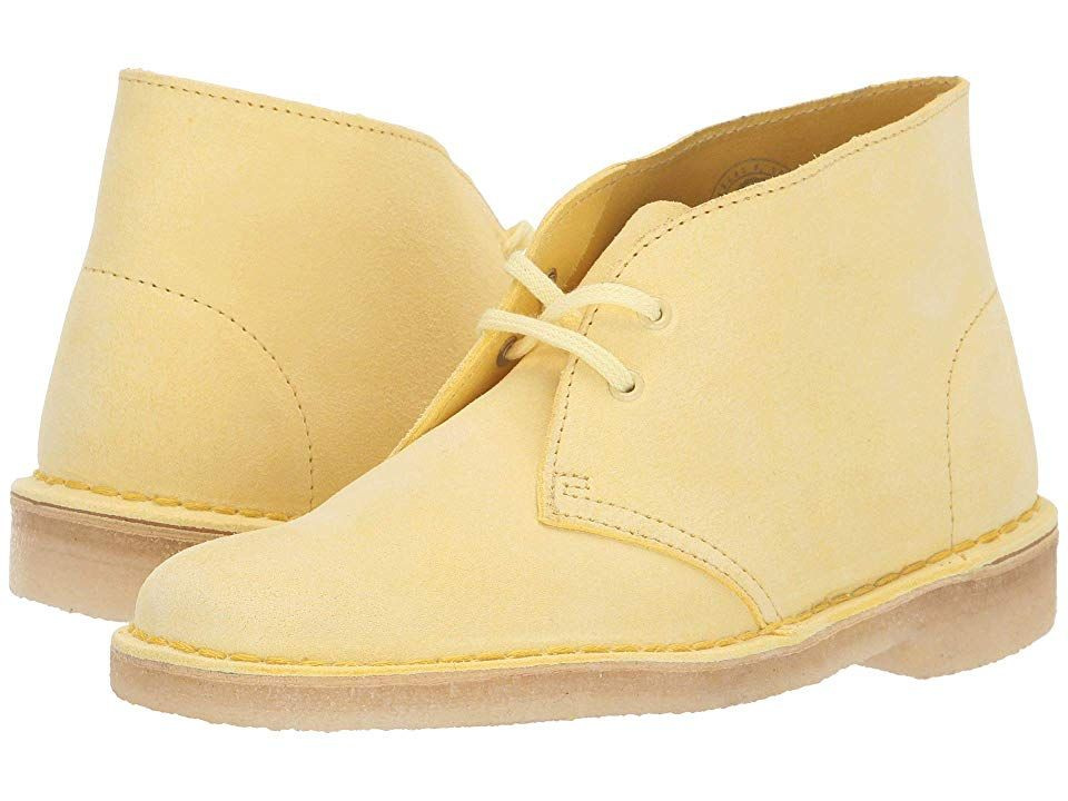 Clarks Desert Boot Women's Lace up Boots Pale Yellow Suede