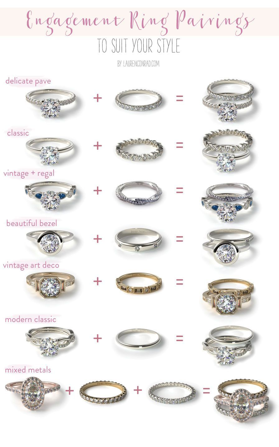 7 Different Engagement Wedding Band Pairings Find Your Perfect Ring Pairing With Wedding Ring Bands Engagement Ring Wedding Band Favorite Engagement Rings