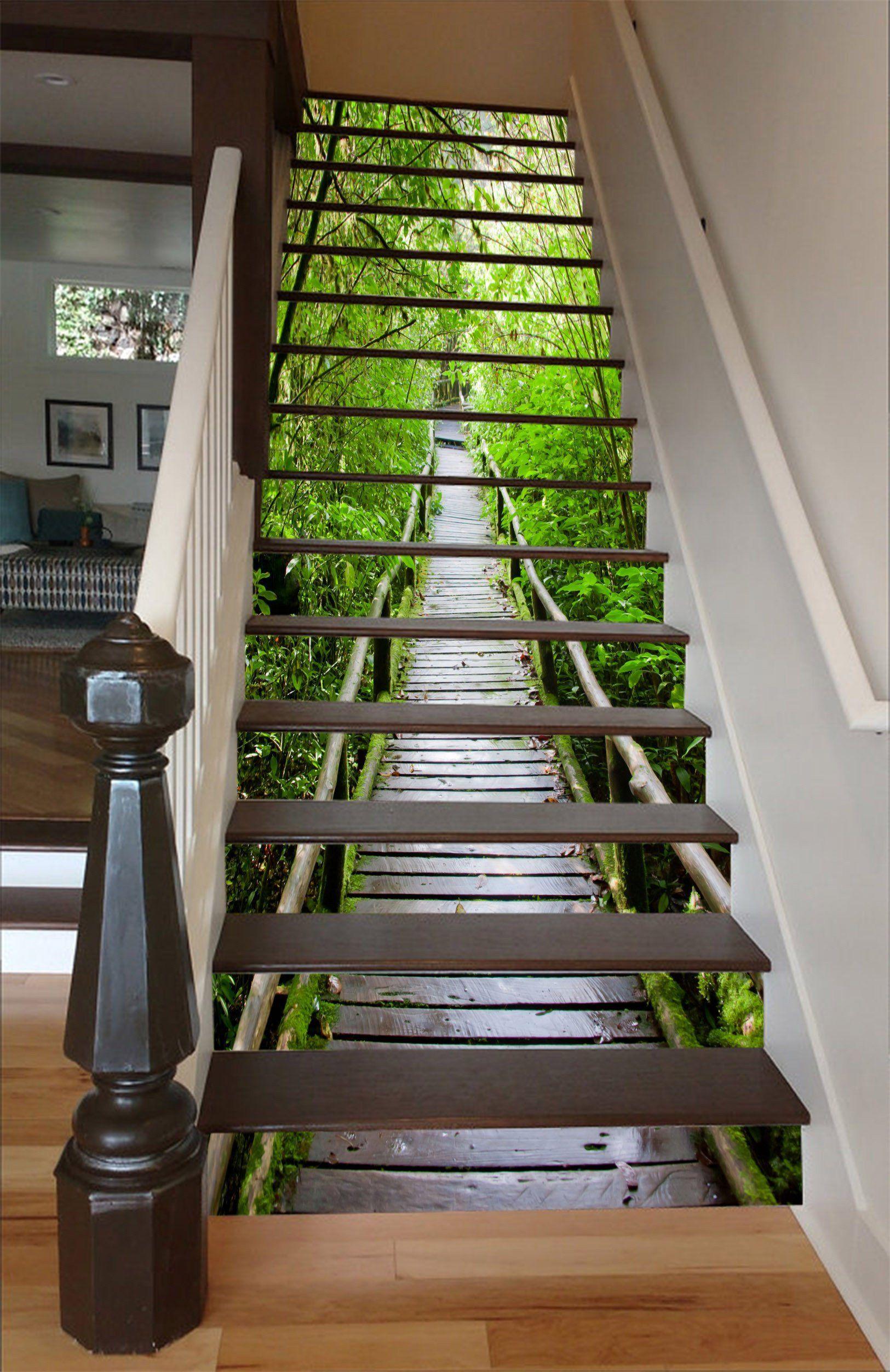 3d Wood Bridge Green Trees 1535 Stair Risers Stair Decor Door Murals Beautiful Stairs
