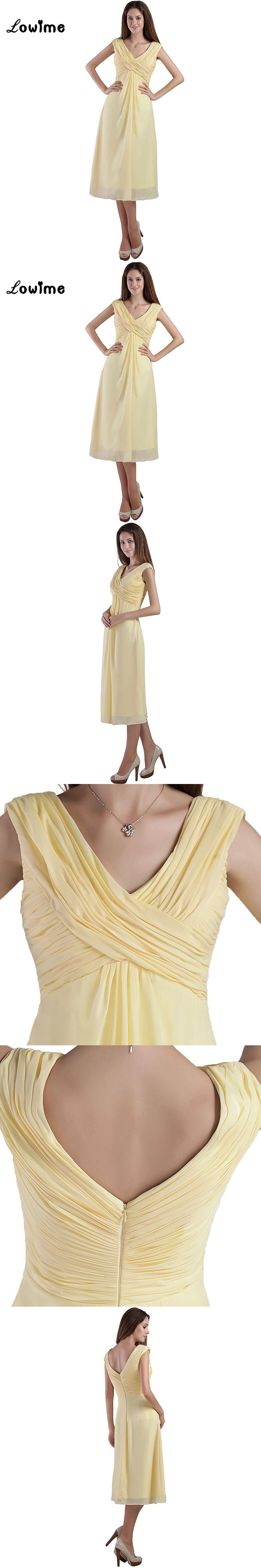 Light yellow knee length short chiffon bridesmaid dresses v neck light yellow knee length short chiffon bridesmaid dresses v neck zipper back cheap under 100 ombrellifo Image collections