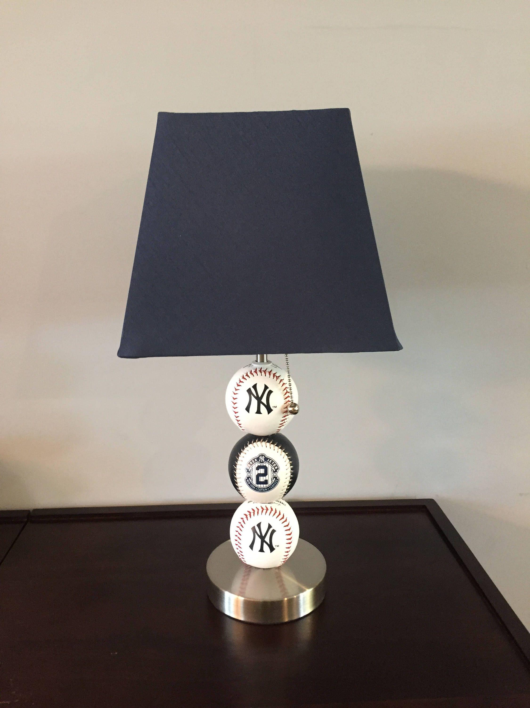 Yankees Captain Derek Jeter Baseball Lamp. Baseball Lamp, Burlap Lamp Shades  ...