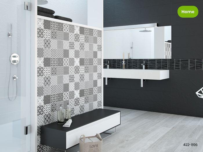 Zwarte Tegels Badkamer : Inspiratie zwarte uni en patroontegels in moderne badkamer jan
