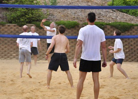 6 Man Volley Ball At Crabtree Swim Club Playing For St Baldrick S At The Growler Tourney In Raleigh Nc Swim Club Mens Volleyball Relaxing Game