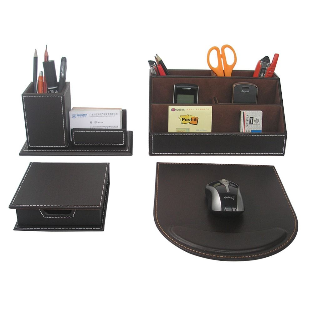 Ever Perfect 4PCS/Set Leather Desk Stationery Accessories Organizer Pen  Holder Box Mouse Pad Name