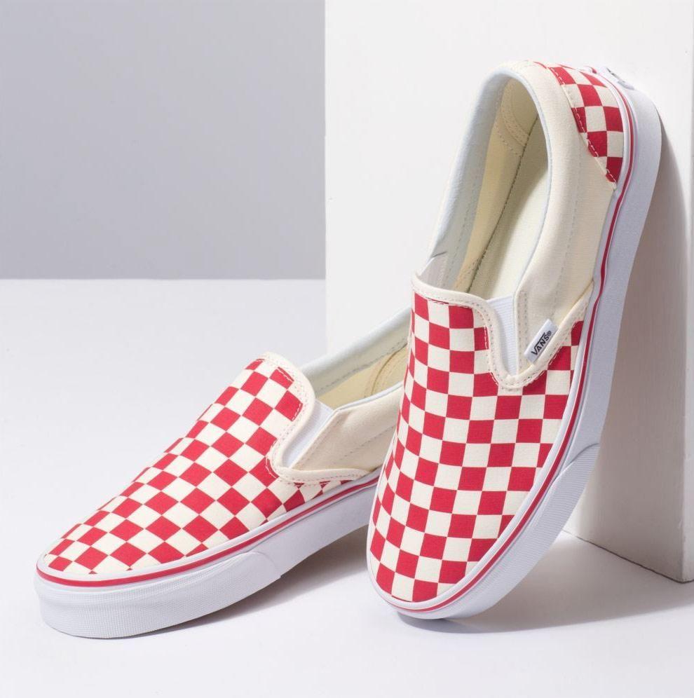 girls checkered slip on vans