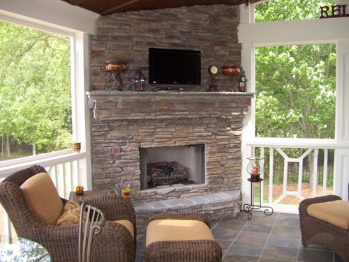 Screened Porch Fireplace Good For Entertaining Or Just Relaxing