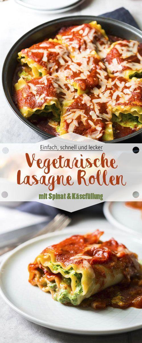 Lasagne Rollen mit Spinat und Käsefüllung - Ina Isst #spinatlasagne