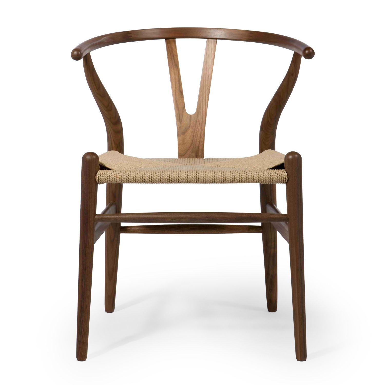 Wishbone style dining chair solid walnut, oak, or ash