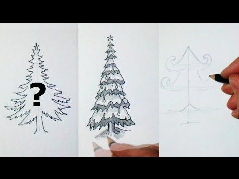 How I Draw A Christmas Tree 10 Different Styles Christmas Drawing Christmas Tree Drawing Tree Drawing