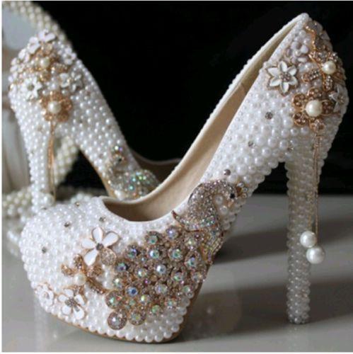 81e2a900df7 Womens platform pearl crystal Phoenix wedding dress shoe bride flower high  heels