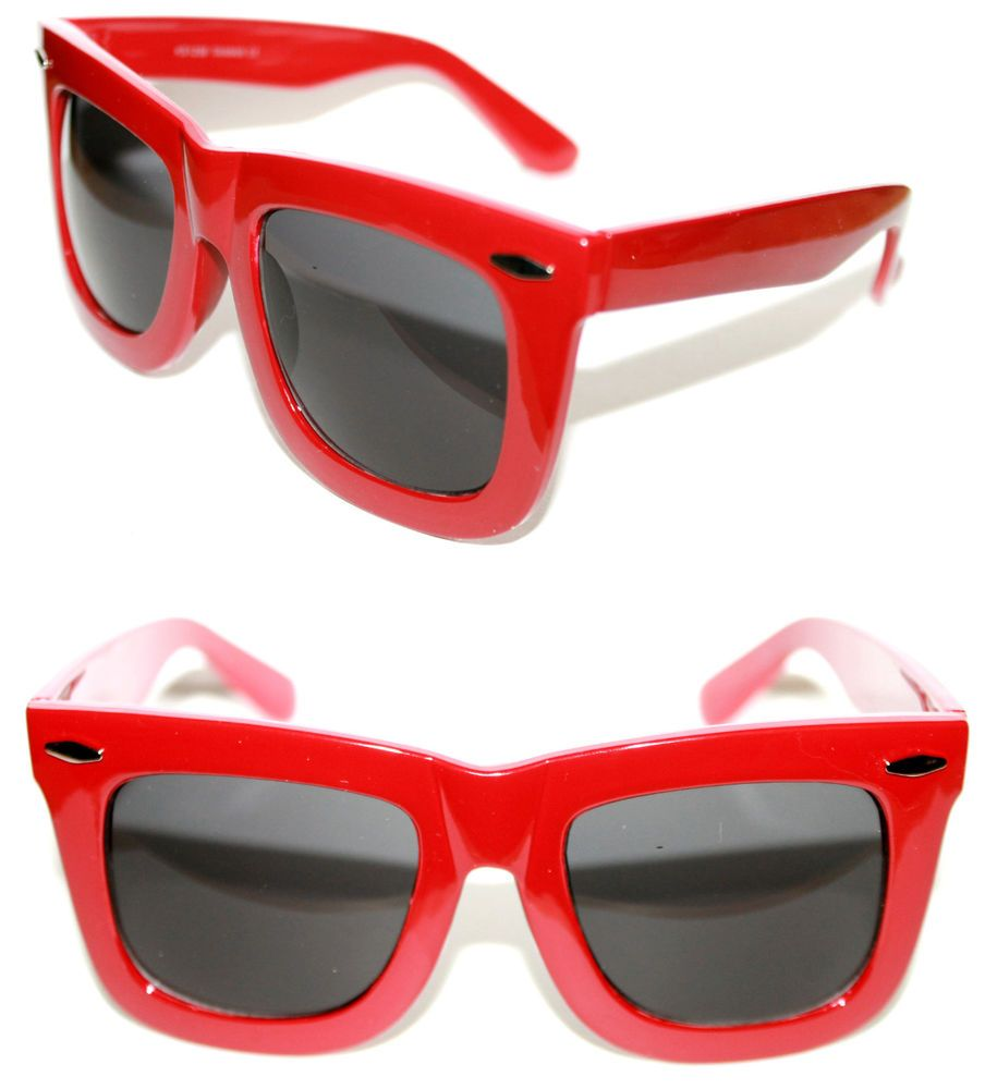 b2c90558312c Men s Women s Thick Horn Rimmed polished Red Frame Sunglasses Xl black  Lenses  Spexx  Square
