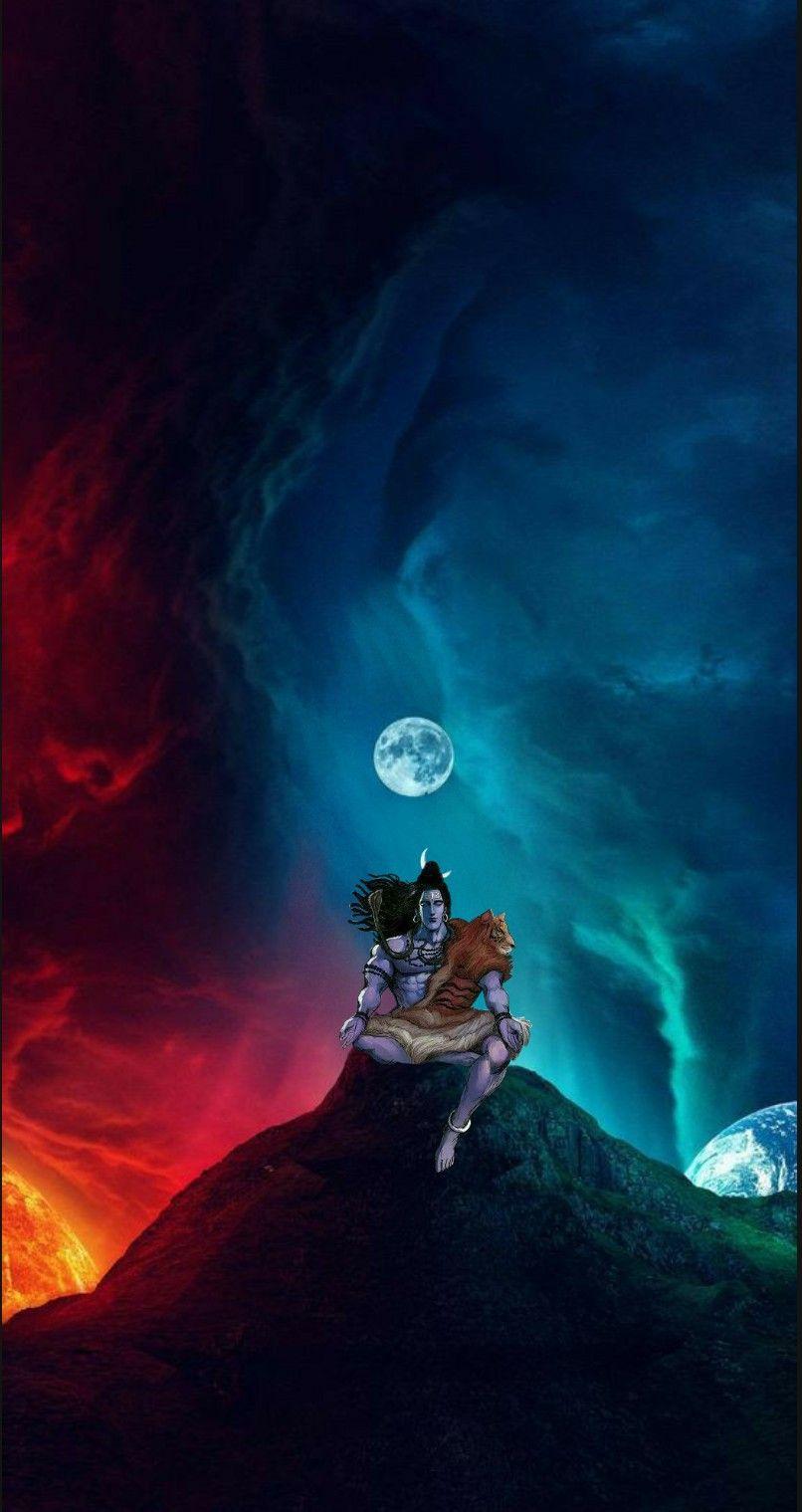Lord Shiva As Adiyogi In Creative Art Painting Wallpaper Lord