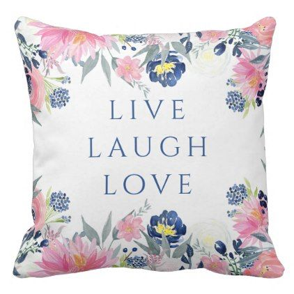 girly -  Navy Blue and Pink Watercolor Flowers Throw Pillow 41520521ba