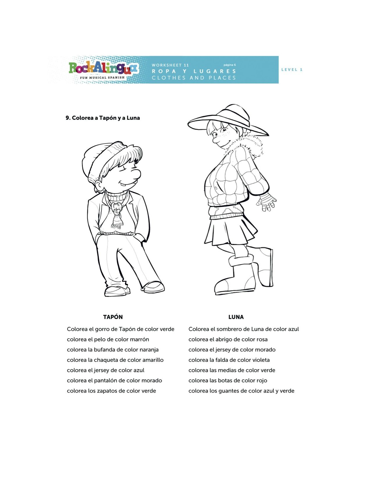 worksheet Spanish Vocabulary Worksheets spanish worksheet about clothes places and weather more teaching resources at www rockalingua