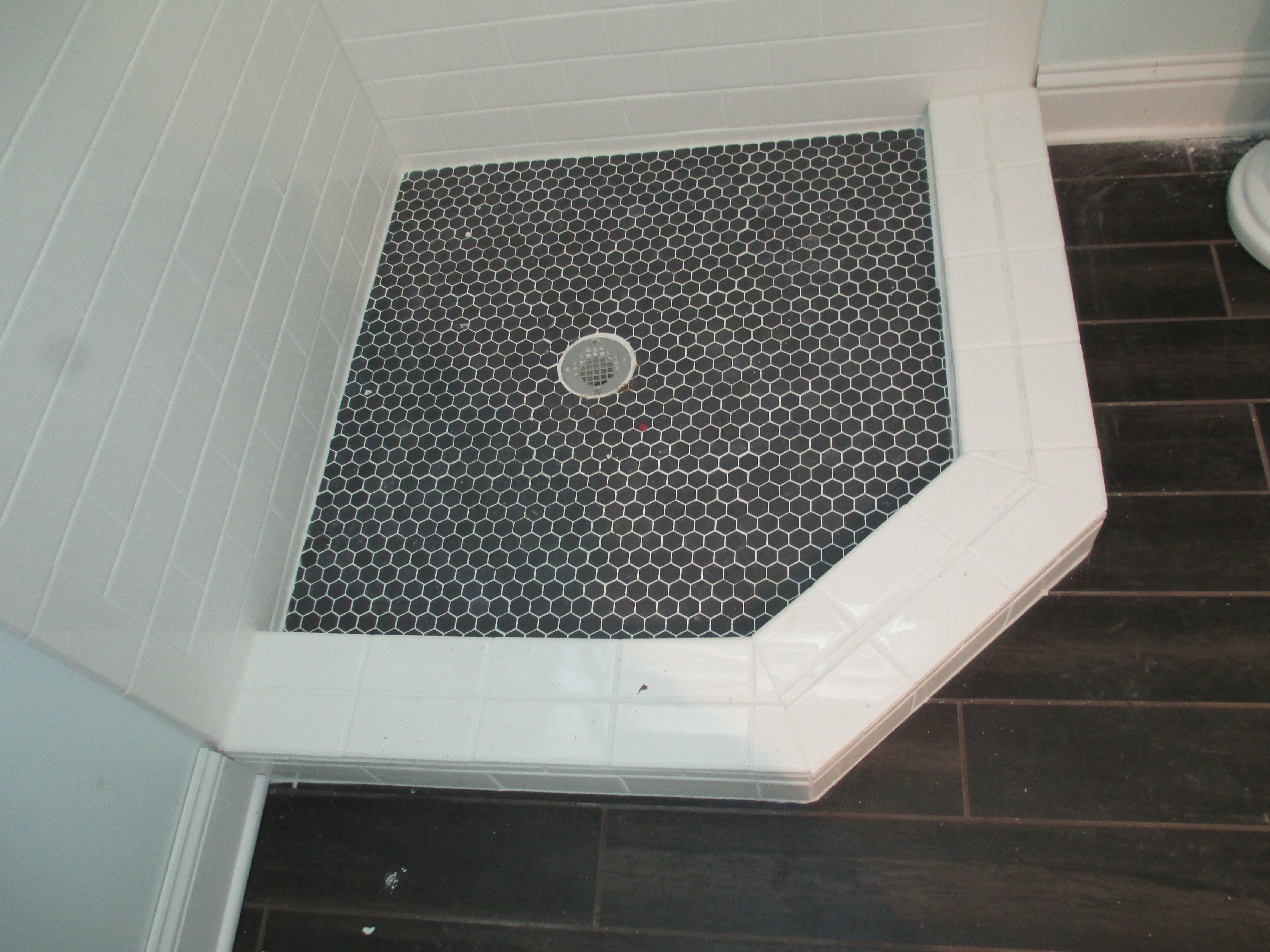 Shower Floor Ideas Black Hexagon Tile With White Grout
