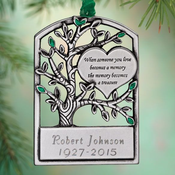 Personalized Pewter Memorial Tree Ornament - Zoom - Personalized Pewter Memorial Tree Ornament - Zoom Mom's Life/Mom's