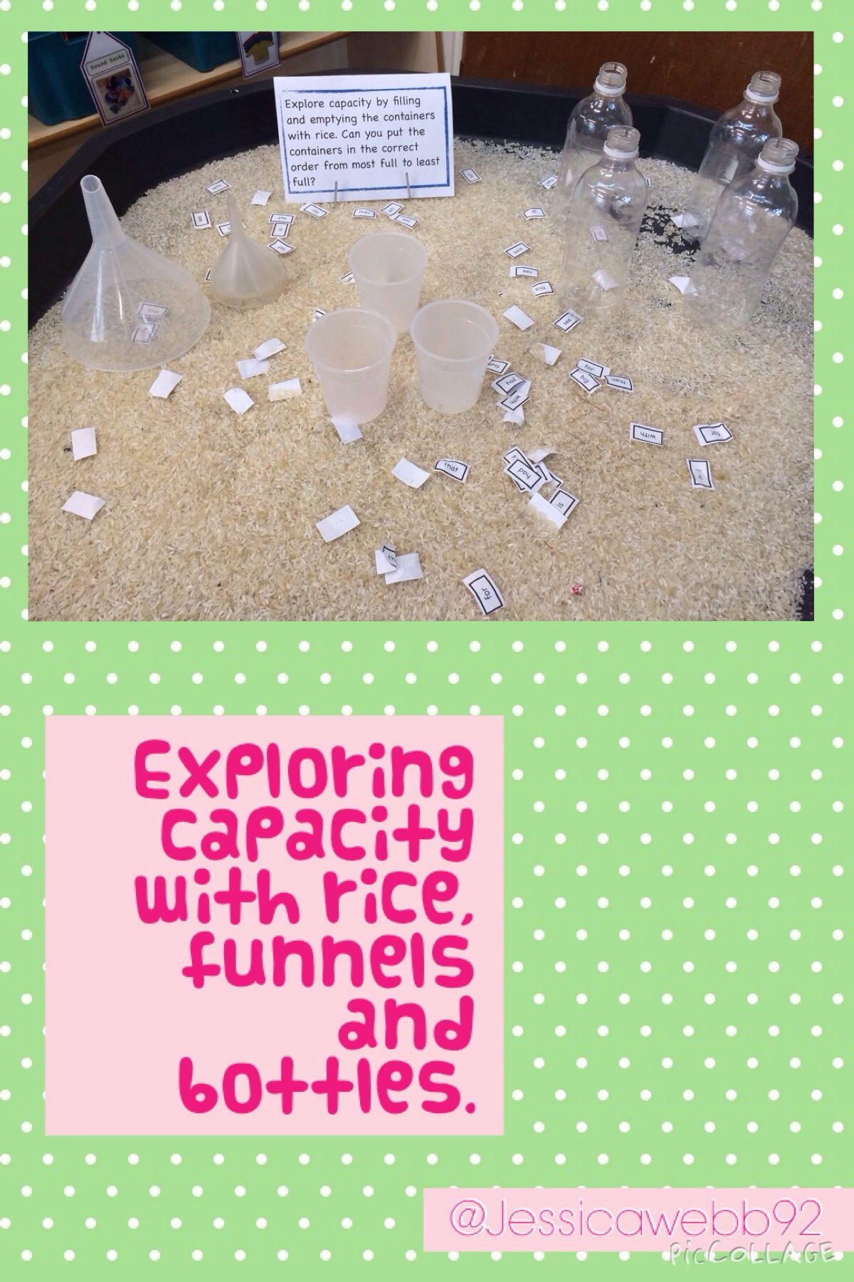 Exploring Capacity With Rice Bottles And Funnels Such A Nice Capacity Activity