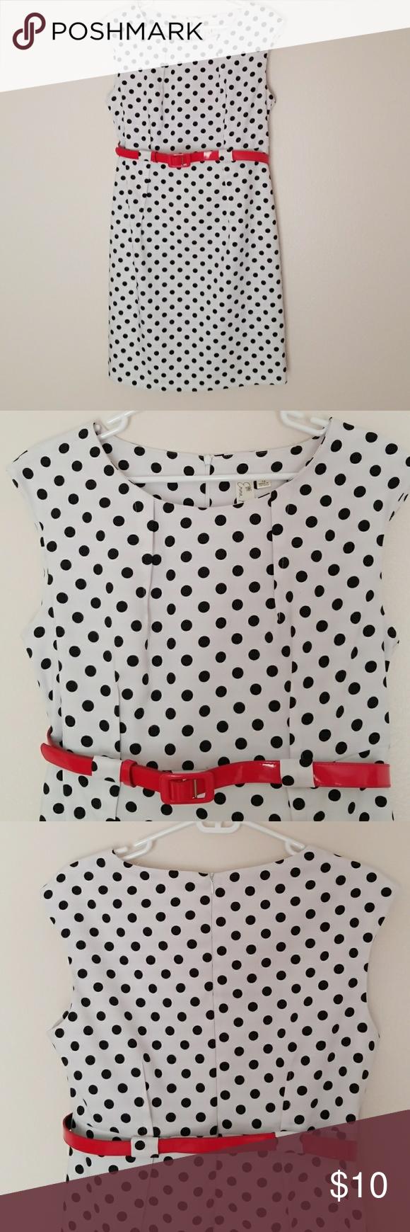 White polka dot dress white polka dot dress red belt and darts