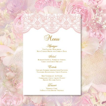 Wedding Menu  - menu template for word