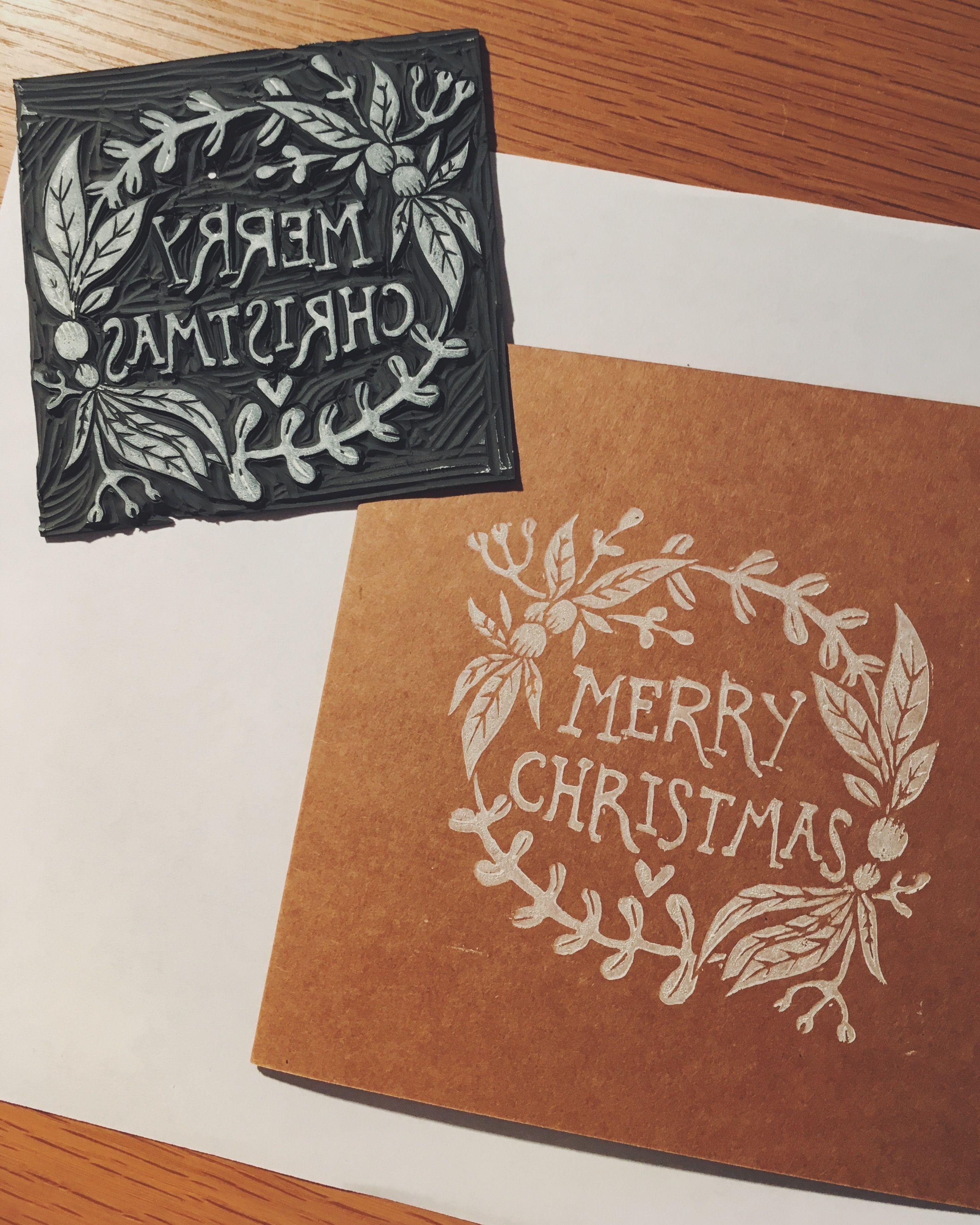 merry christmas lino printed cards   print christmas