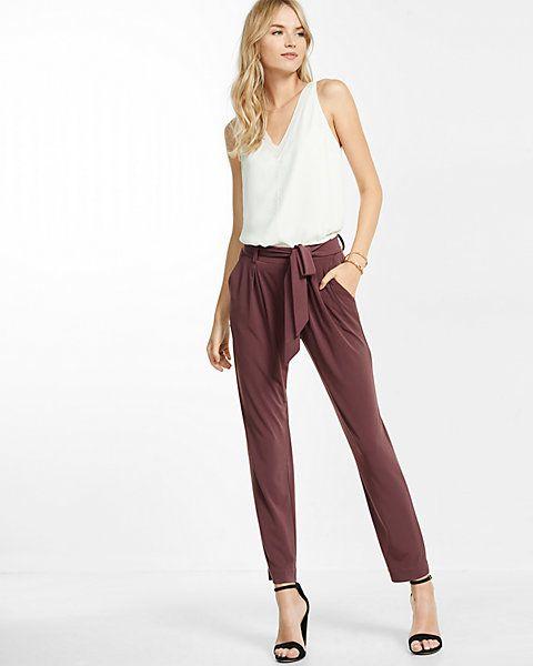 079150807f0126 Mid Rise Jersey Sash Pant #Express $60 | FASHIONista! | Pants, Pants ...