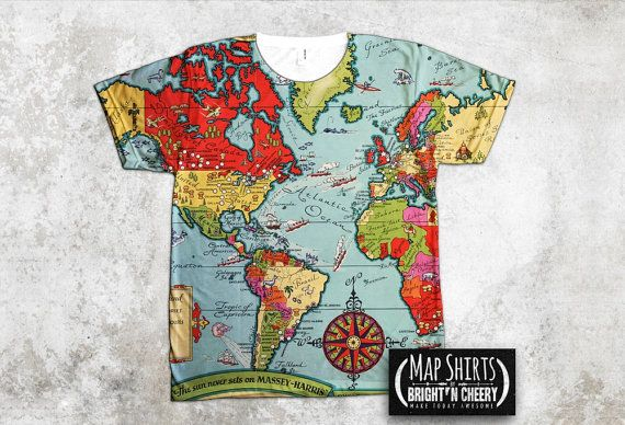 Vintage 1938 massey harris world map t shirt all over by mapshirts vintage 1938 massey harris world map t shirt all over by mapshirts gumiabroncs Images