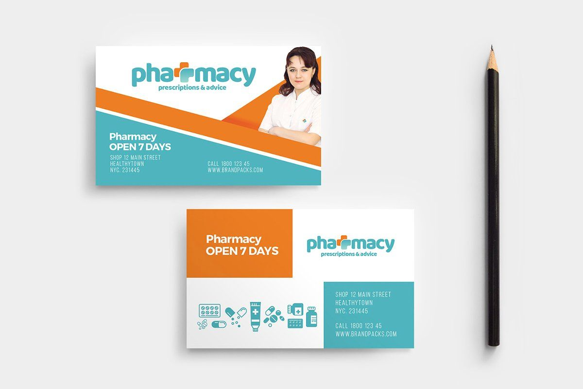 Pharmacy Business Card Template in 2020 Business card