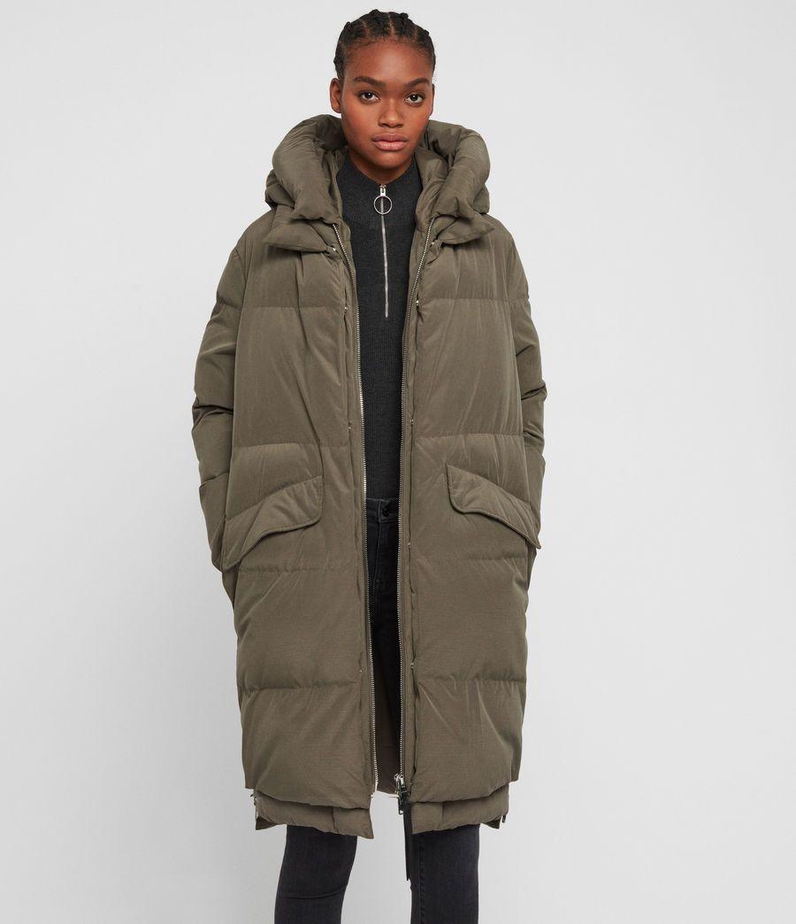 Allsaints Us Womens Ester Parka Puffer Coat Moss Green Puffer Coat Women S Puffer Coats Puffer Jacket Outfit [ 1044 x 900 Pixel ]