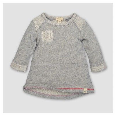 Burt's Bees Baby Girls' Organic Loop Terry Pocket Dress - Heather Gray 6-9M, Size: 6-9 M