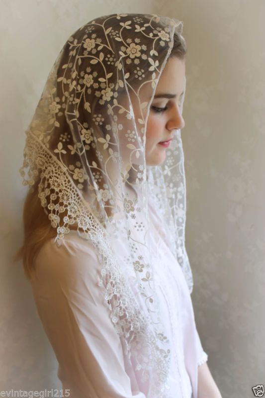 Brown Mantilla Embroidered Chapel Veil~Triangle~NEW