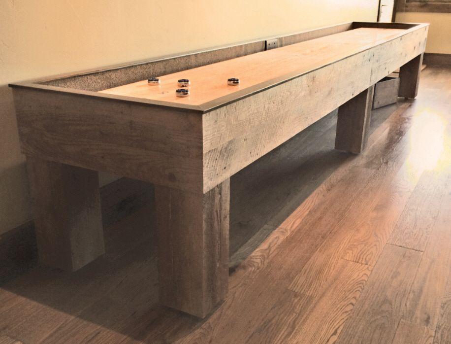 Custom Barnwood Shuffleboard Table Built From Reclaimed Fir. Game Room BarGame  ...