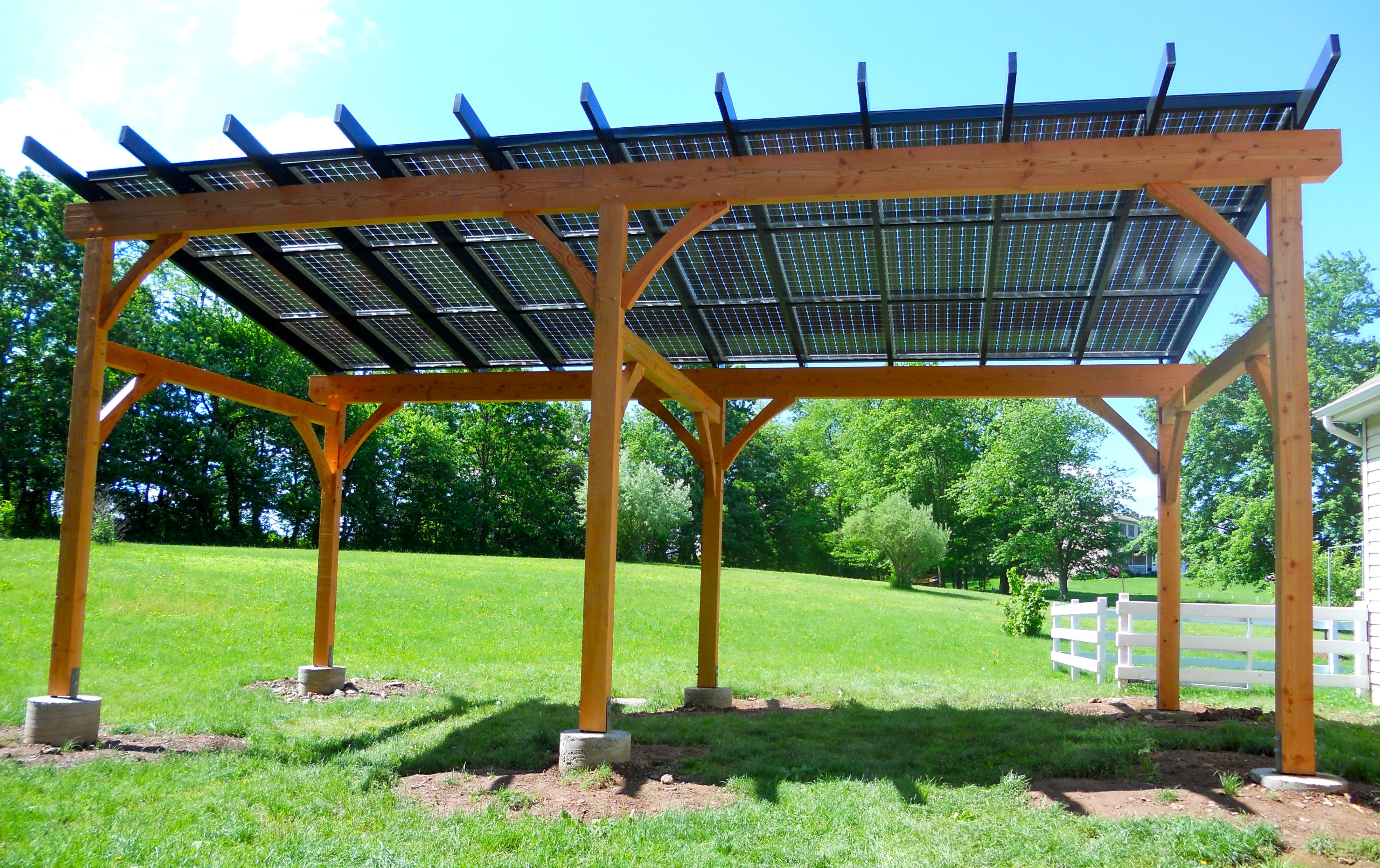 Solar pergola by TFBC member Hugh Lofting Timber Framing