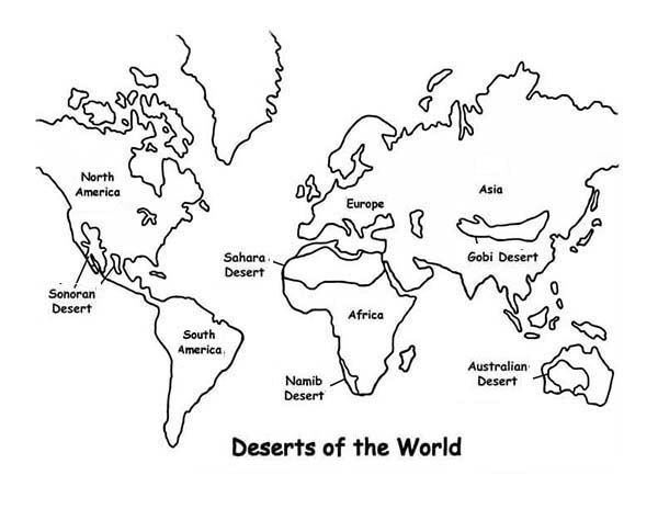 World Map,  Deserts of the World in World Map Coloring Page