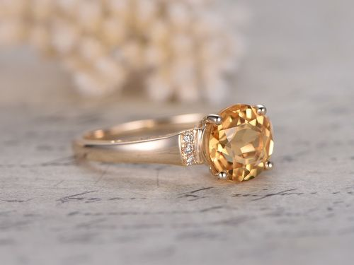 8mm Round Citrine Engagement Ring Diamond Wedding Ring 14k White Gold Heart Plain Band Citrine Ring Engagement Diamond Wedding Rings Wedding Ring 14k White Gold