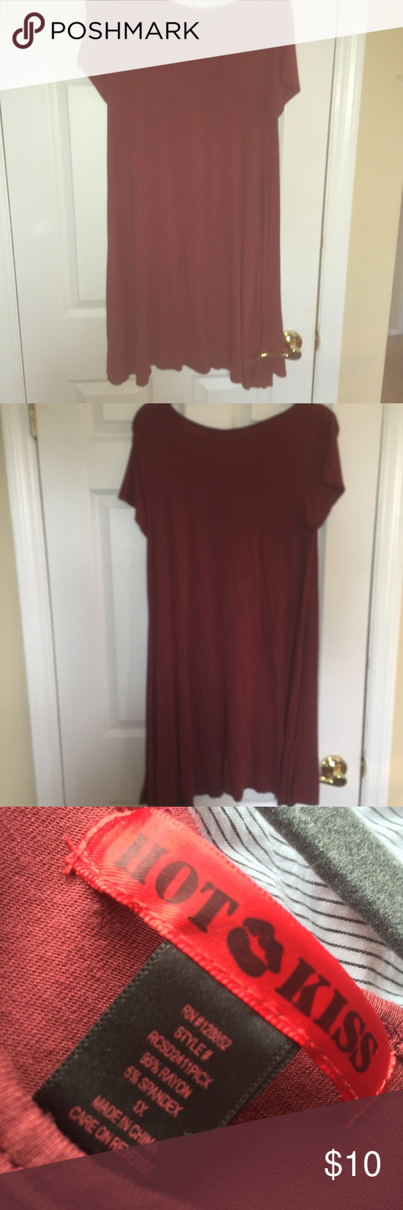 """T-shirt dress Dark red. Hot Kiss brand loose fitting. 36"""" from shoulder to hem. Never worn but has been washed. Hot Kiss Dresses Midi"""