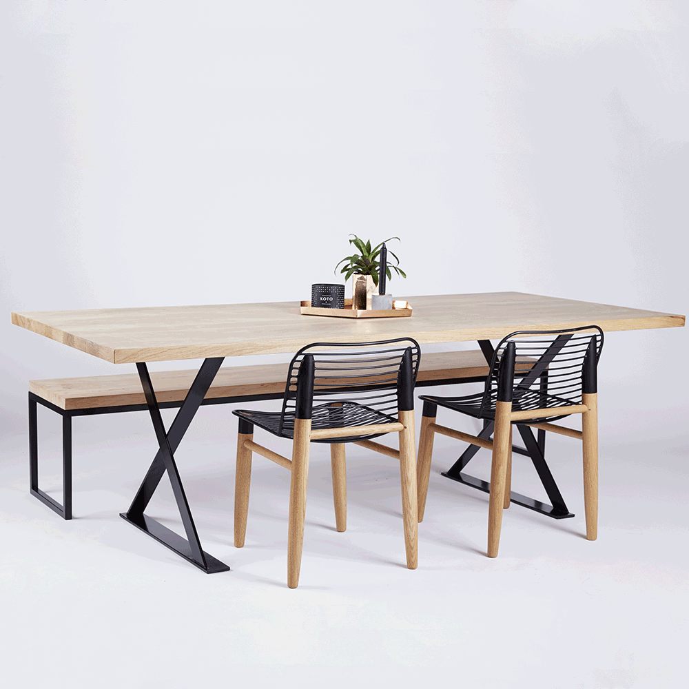 The Alexandria Dining Table Is Crafted With A Solid American White Oak Wooden And Timber Top Black Powder Coated Steel Metal Iron Legs