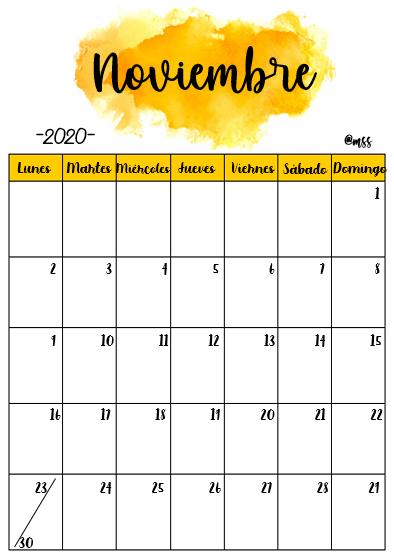 Noviembre 2020 en 2020 | Plantilla de calendario para imprimir, Calendario  mensual para imprimir, Calendarios mensuales