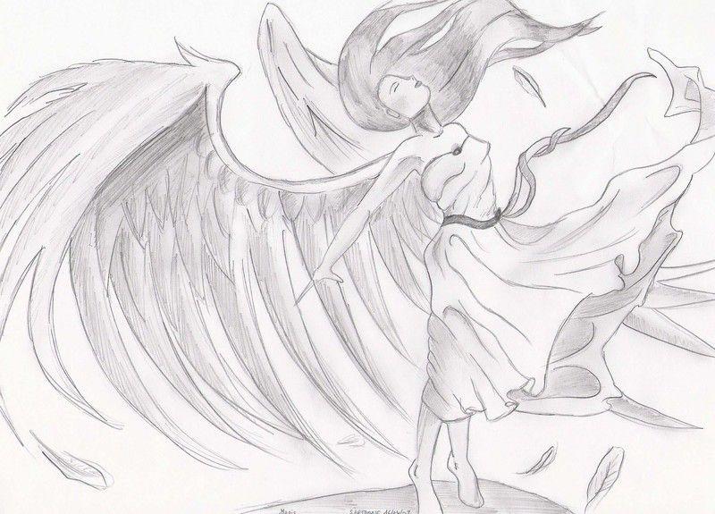 Dessin Ange Triste dessins ange   ange triste quelque dessins dessiner par moi lala