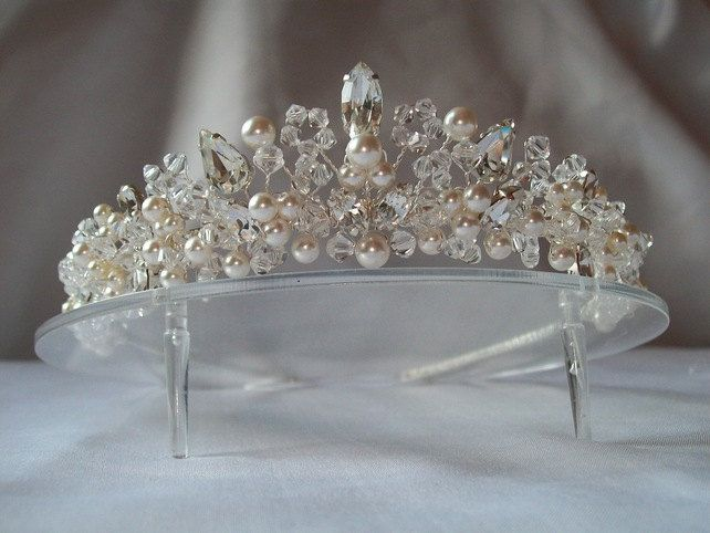 Handmade bridal wedding tiara ivory white pearls and crystal beads