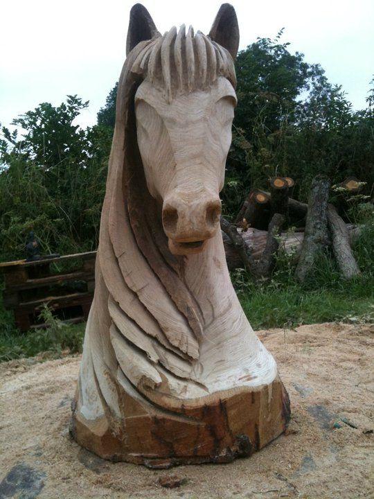Talla de la motosierra y escultura fijada con pinvolve