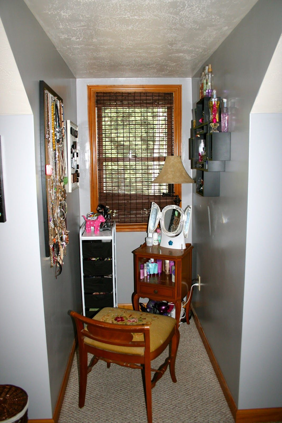 Realistic makeup nook for a teen. Blue light mirrors are