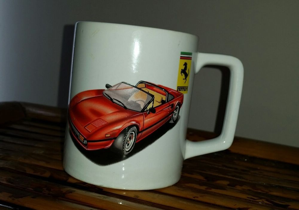 Vintage Red Ferrari Car Coffee Mug Cup Kars Kollectable 1985