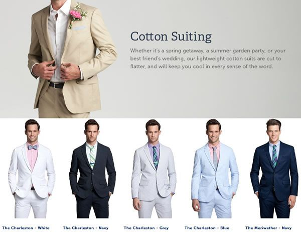 Men's lightweight cotton summer suits. Hot July wedding? Look