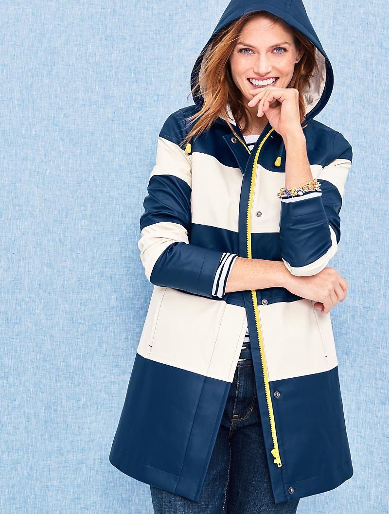 Stripe Hooded Raincoat Talbots Stylish Raincoats Raincoats For Women Rain Jacket Women [ 1057 x 800 Pixel ]